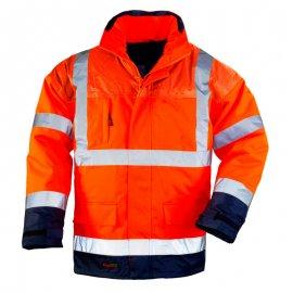 AIRPORT reflexný kabát 4v1 oranžovo/modrý  7AIFO kabát/vetrovka
