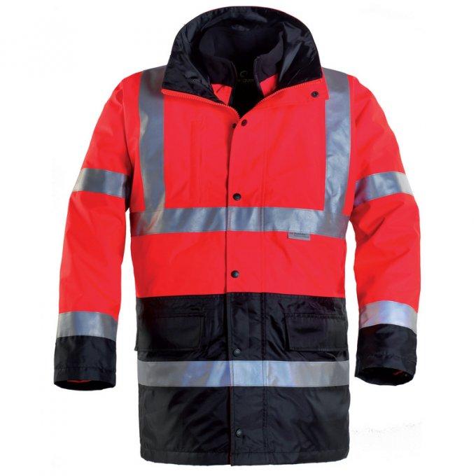 HI-WAY reflexný kabát 4v1 červeno/čierný  70579-584